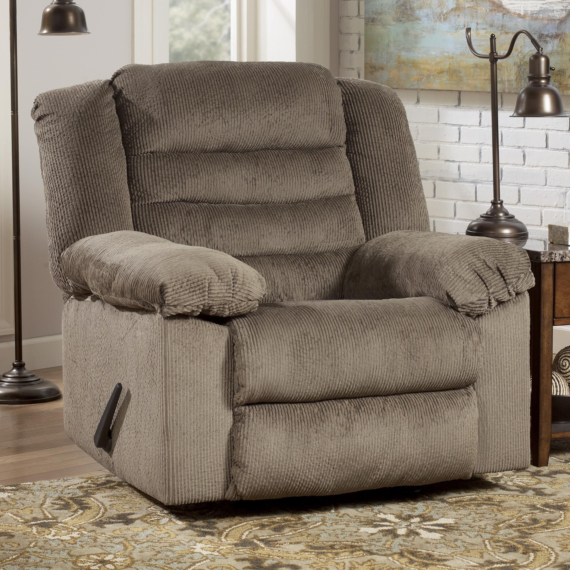 Ashley Furniture Roseville: Taupe Rocker Recliner With Heat And Massage