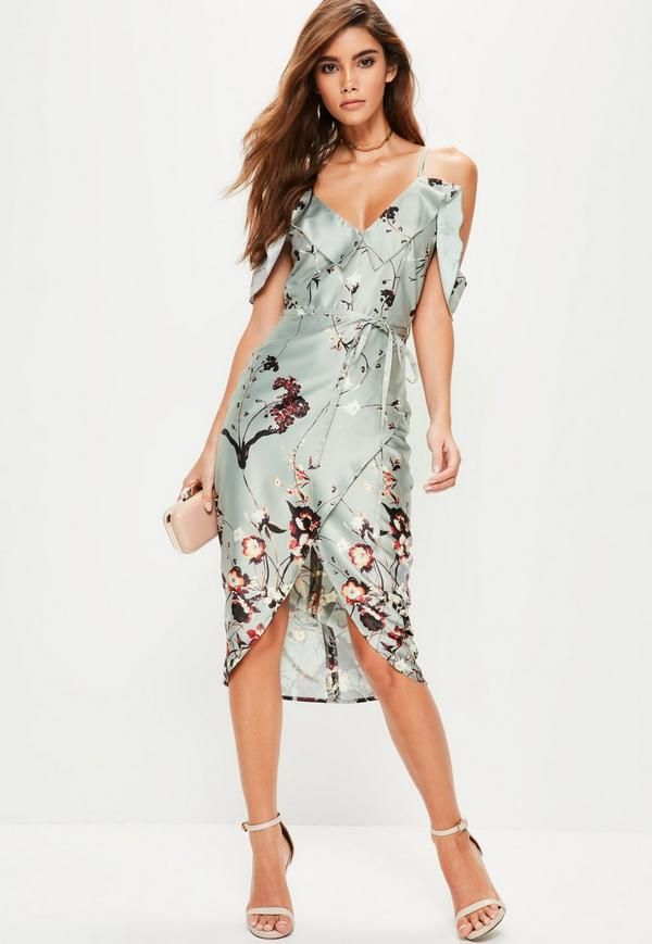 bd971ac66aac Make your evening game that little bit extra with this grey floral midi  dress. Featuring a V-neckline
