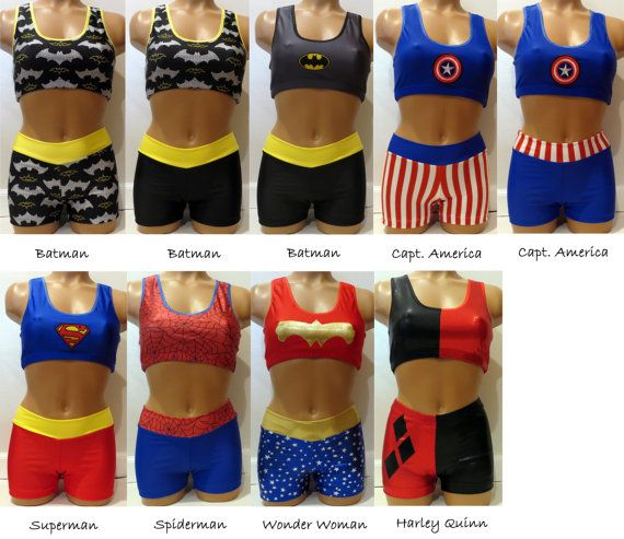 5e3161e9d9d42 Super Hero DC Comic Marvel Sport Bra   Shorts - inspired by Batman ...