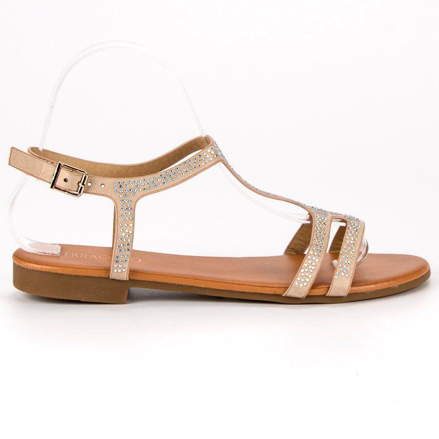Bezowe Plaskie Sandaly Bezowy Shoes Sandals Fashion