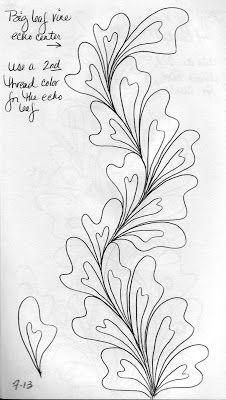 luann kessi quilting sketch book big leaf vines draw