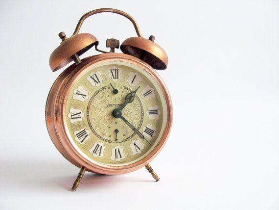 Awesome Vintage Alarm Clock   German Jerger Alarm Clock Large Copper Color  Table  Clock  Desk