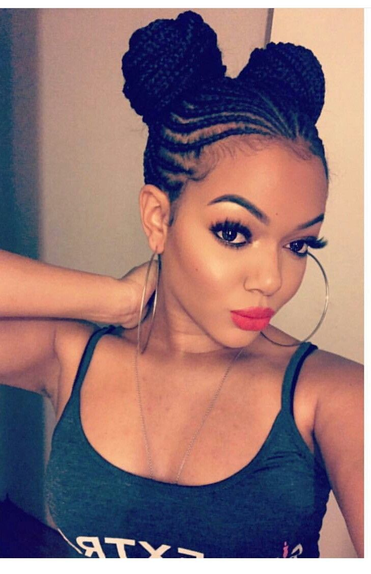 Loving the braided puffs hair pinterest black girls
