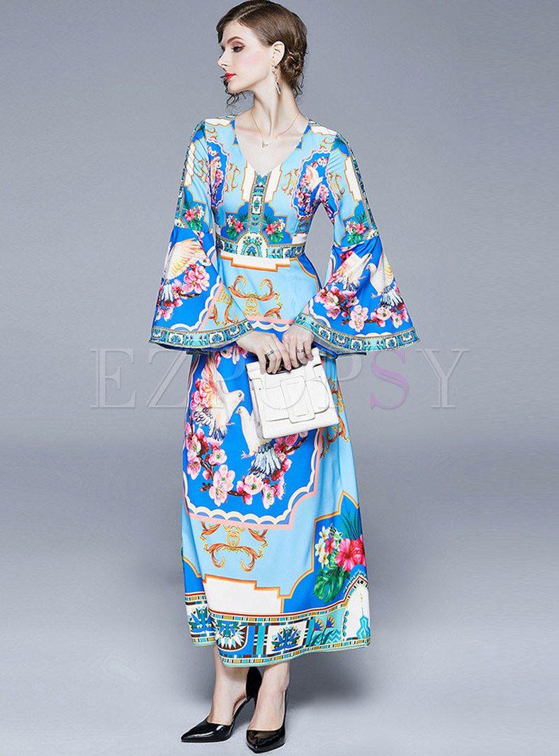 Vintage Print Flare Sleeve Slim Maxi Dress Elegant Maxi Dress Dresses Maxi Dress [ 1066 x 789 Pixel ]