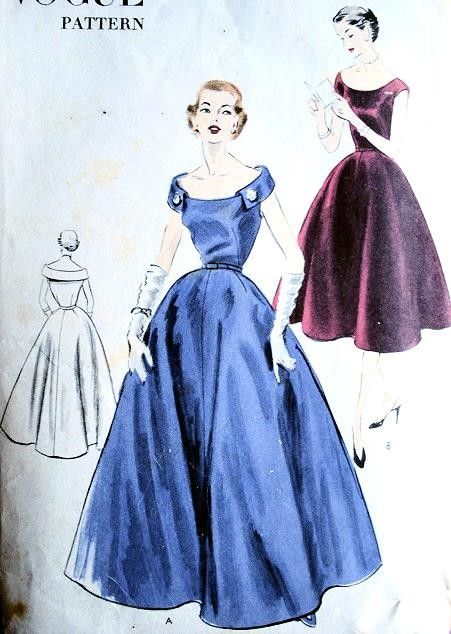 LOVELY 50s EVENING GOWN COCKTAIL DRESS PATTERN