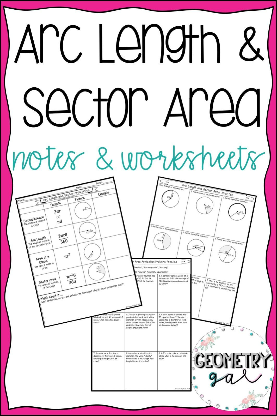 Arc Length And Sector Area Guided Notes And Worksheets