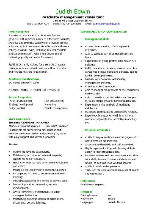Graduate management consultant CV sample, team leader, CV writing - writing resume