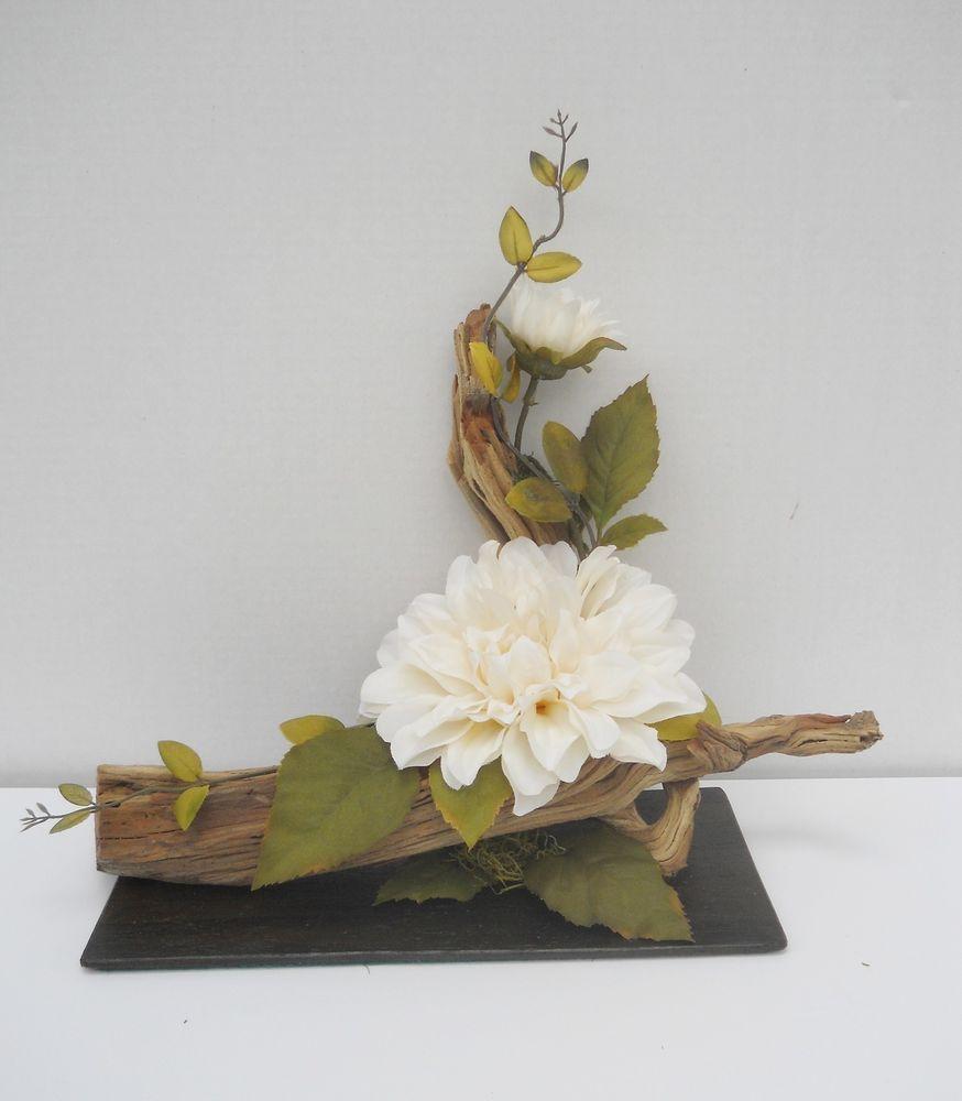 Flower Arrangement Using Driftwood: Silk Flower Floral Arrangement, Centerpiece On Driftwood