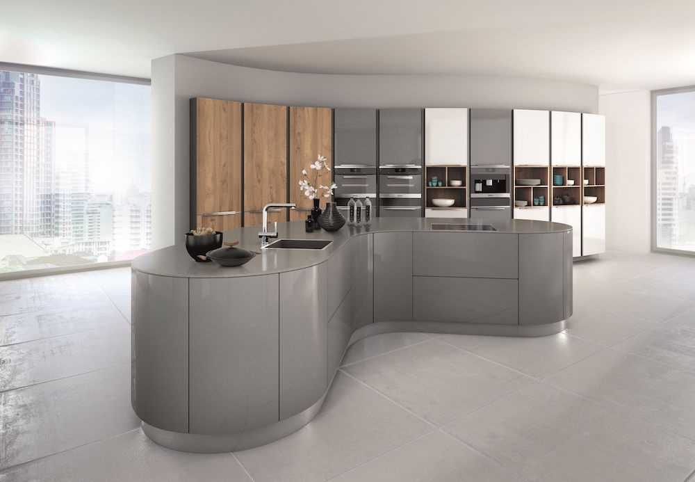 Curved kitchens from LWK Kitchens, German Kitchen supplier - Lava grey  gloss kitchen curves -