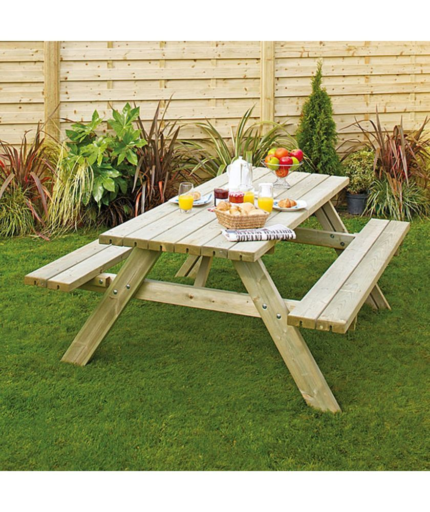 Buy Grange Fencing Oblong Garden Table With Foldable Seats At