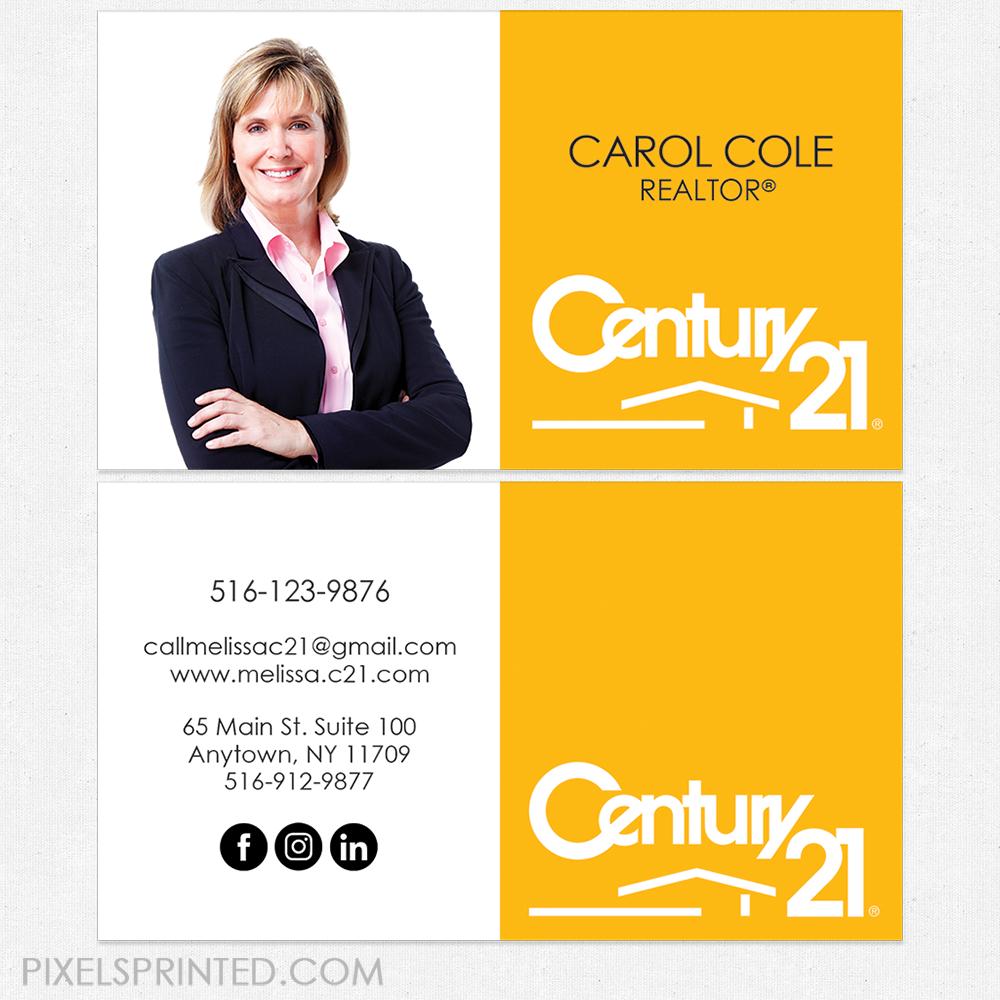 Century 21 business cards, Century 21 cards, realtor business cards ...