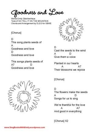 Goodness and Love, a Song by ELEG for SBWE | SBWE Songbook | Pinterest
