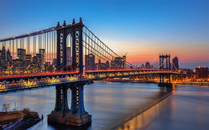 Download wallpapers Manhattan Bridge, evening, bridge, USA, New York, America, NYC
