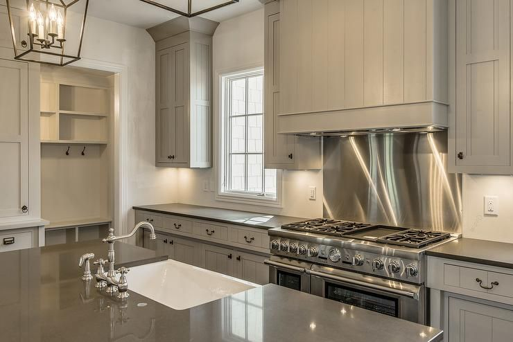 Cooktop Backsplash Ideas Part - 44: Gray Shiplap Kitchen Hood With Stainless Steel Cooktop Backsplash