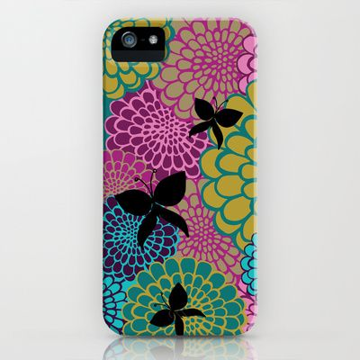 dahlias & butterflies iPhone Case by Michelle Nilson - $35.00