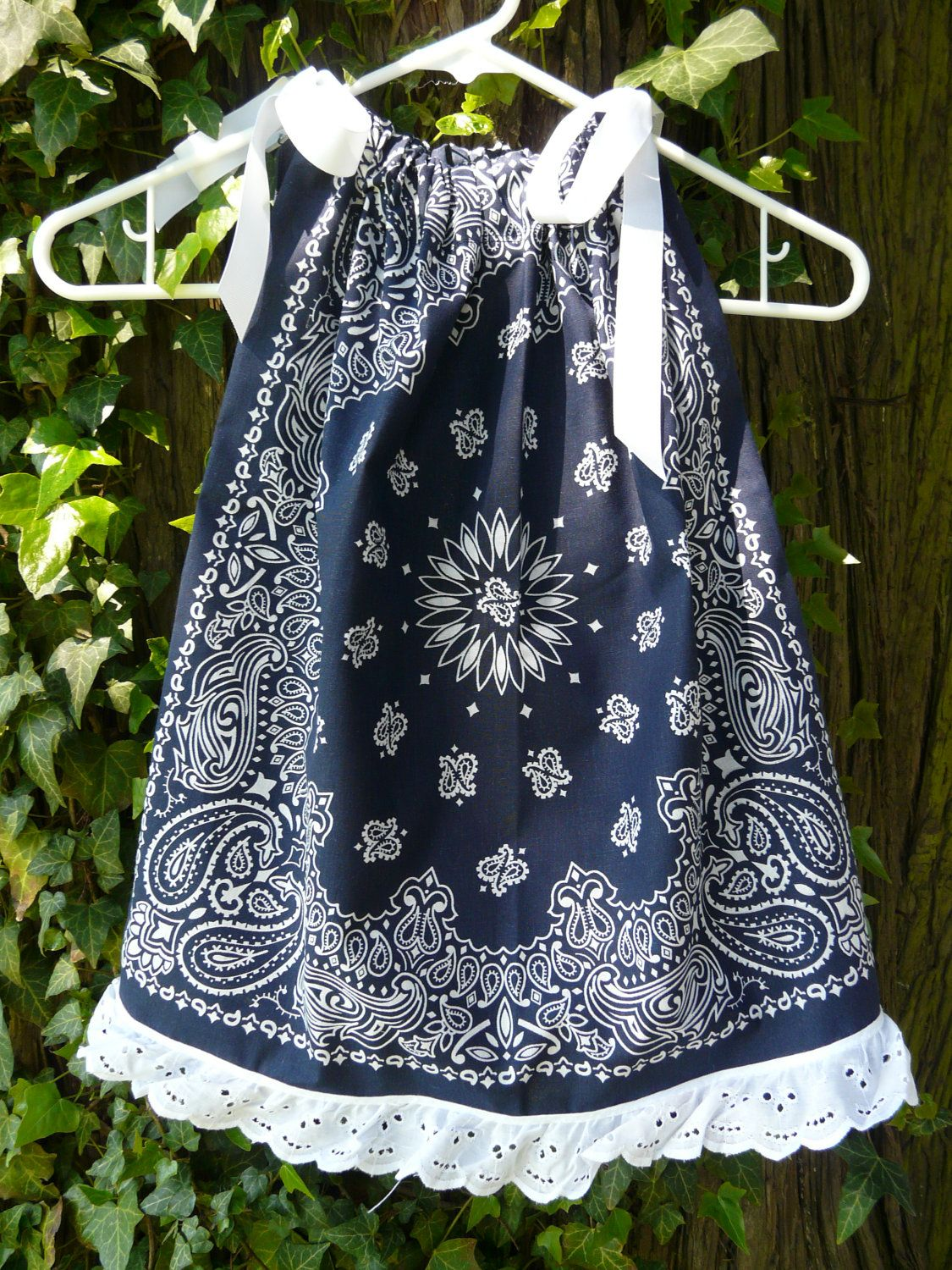 Bandana Pillowcase Dress/ Swing Top Toddler Girls w/ Eyelet lace ...