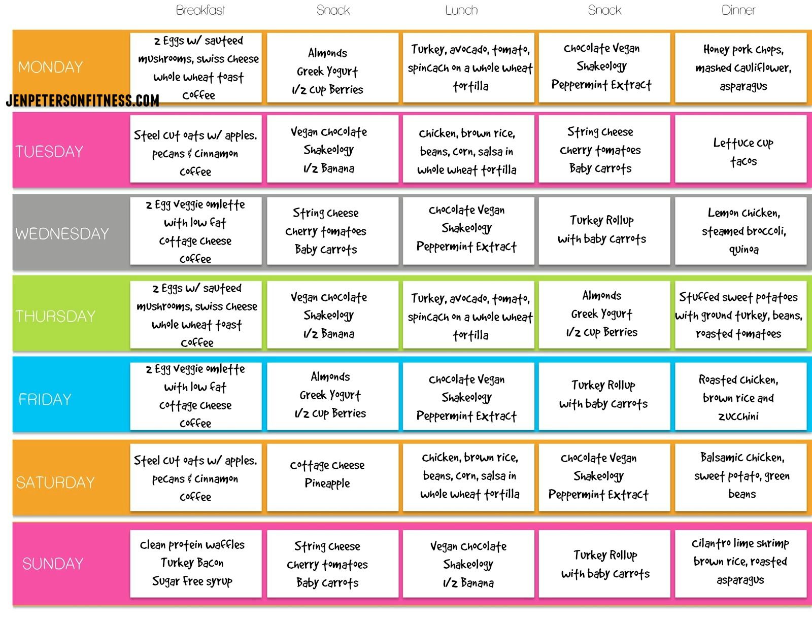 healthy meal plan for family of 6 Google Search Clean