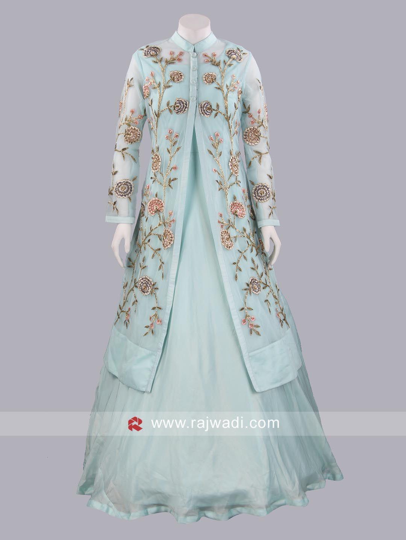 Net gown with flower work koti rajwadi weddinggown gowns
