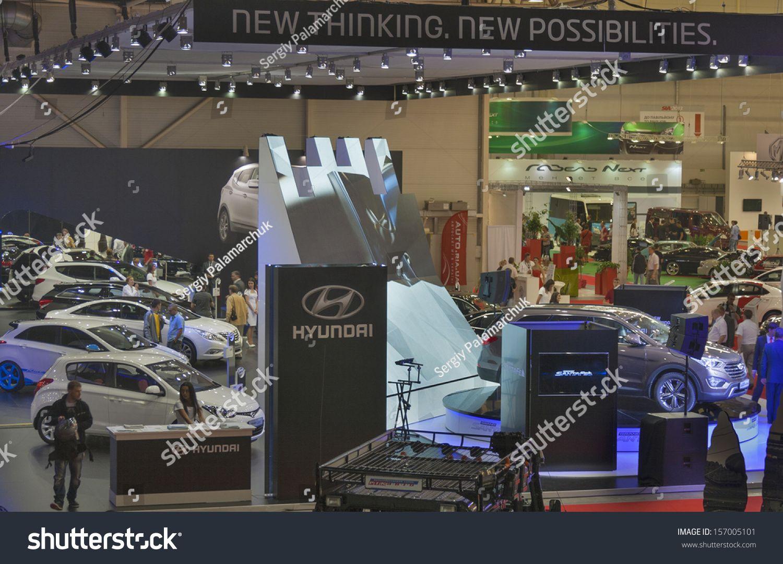 KIEV, UKRAINE MAY 29 Visitors visit Hyundai booth with