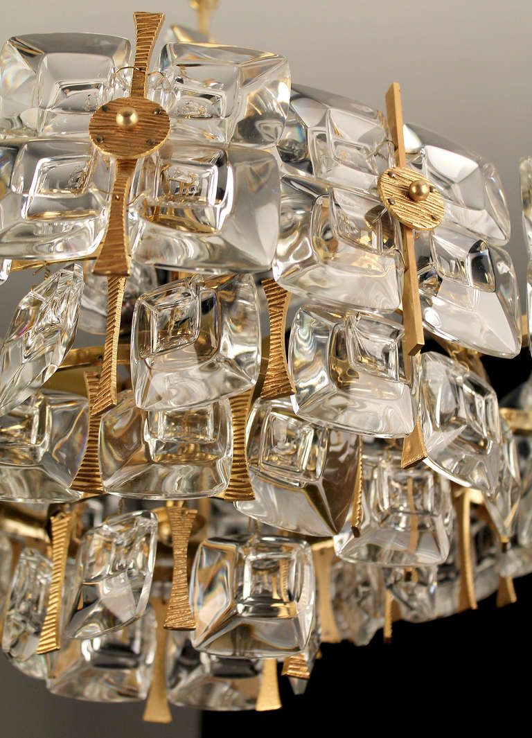 1960s German Palme Und Walter Glass Crystal Pendant Chandelier