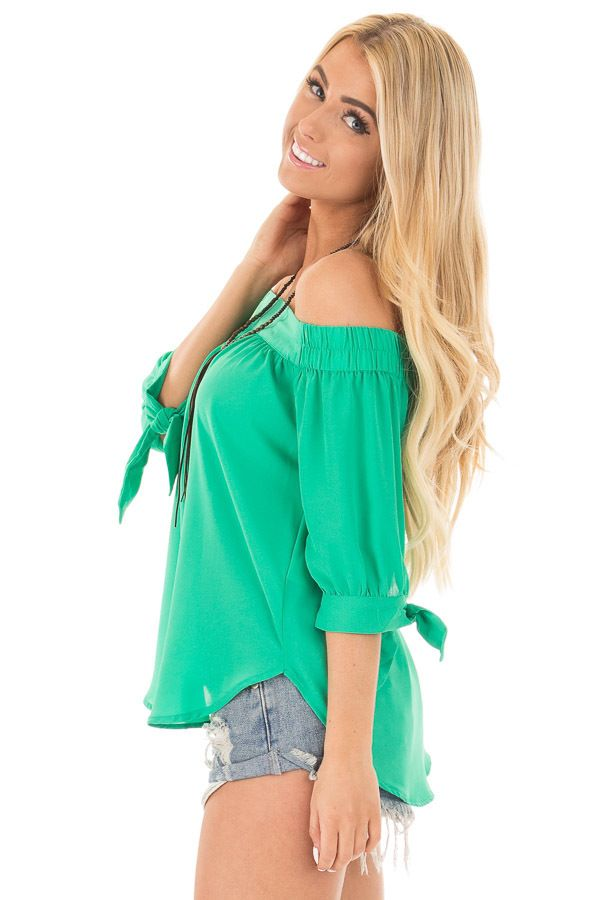 c9123e0ca24 Kelly Green Chiffon Off the Shoulder Blouse | Awesome Tops | Tops ...