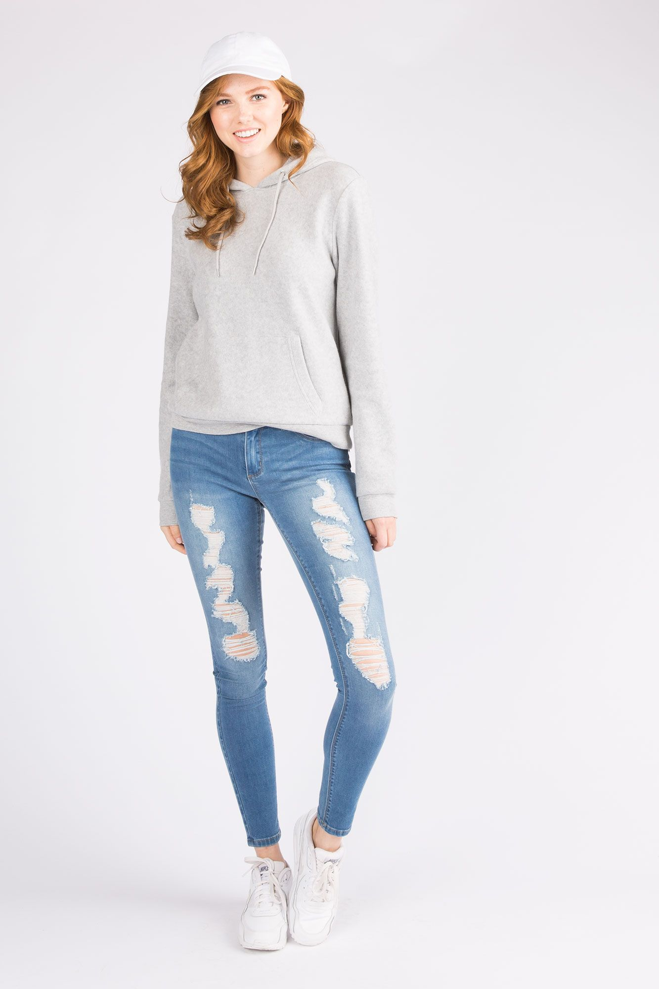 Girls Low Rise Destroyed Taylor Jegging in Medium Stone Wash