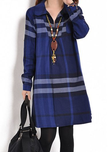 Navy Blue Plaid Print Long Sleeve Tunic Shirt Dress For Fall