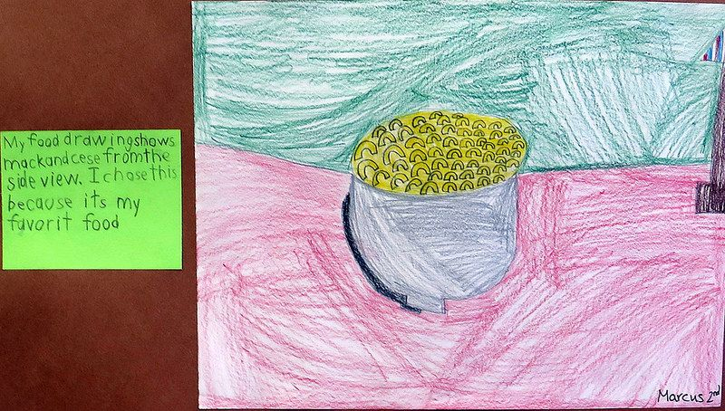 Favorite Food Drawings. The second and third grades have been looking at the work of Wayne Thiebaud.
