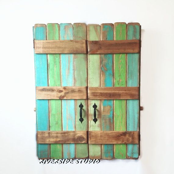 Hanging Wood Jewelry Organizer with Double Doors Shabby Chic