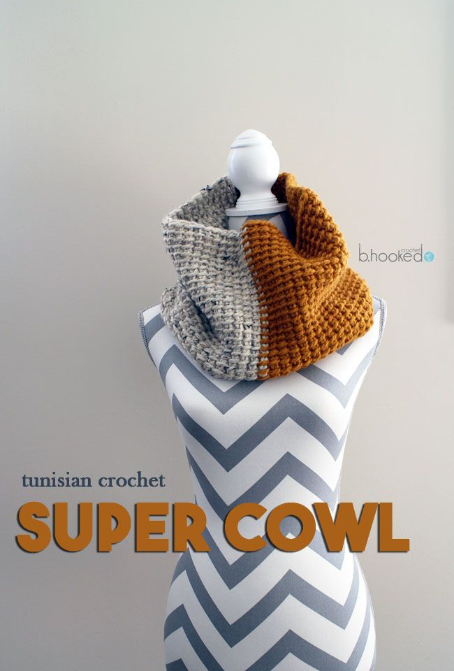 Tunisian Crochet Super Cowl - Free Pattern | Tunesisch, Stricken und ...