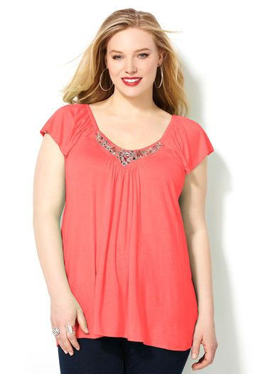 69b7a4171fe Jewel Embellished Top-Plus Size Top-Avenue