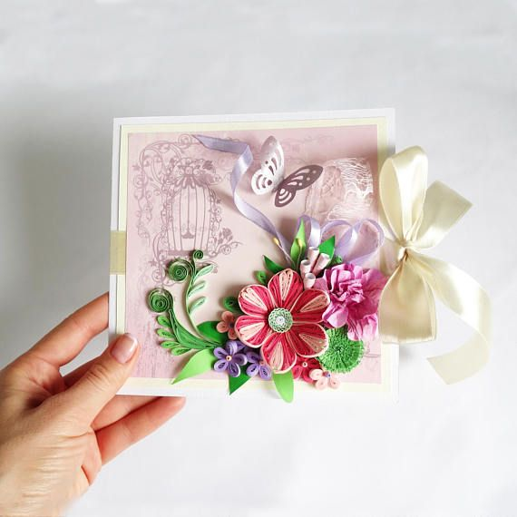 Floral greeting card, Beautiful Birthday Card, 3D card - anniversary card free