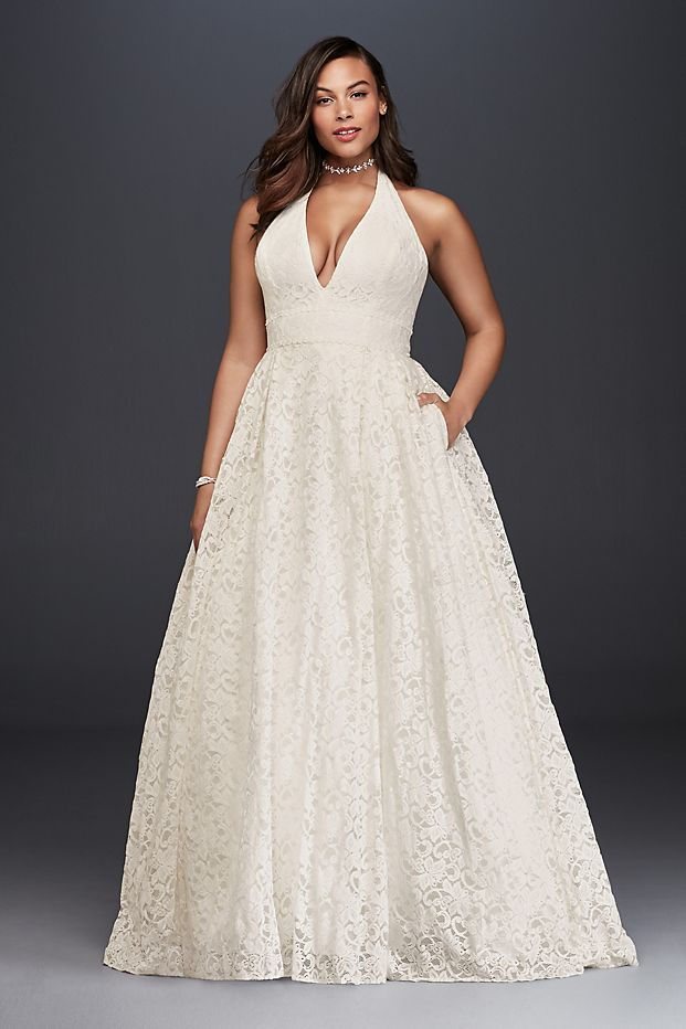 Plunging Lace Halter Plus Size Wedding Dress David S Bridal Plus Wedding Dresses Ball Gowns Wedding Wedding Dresses