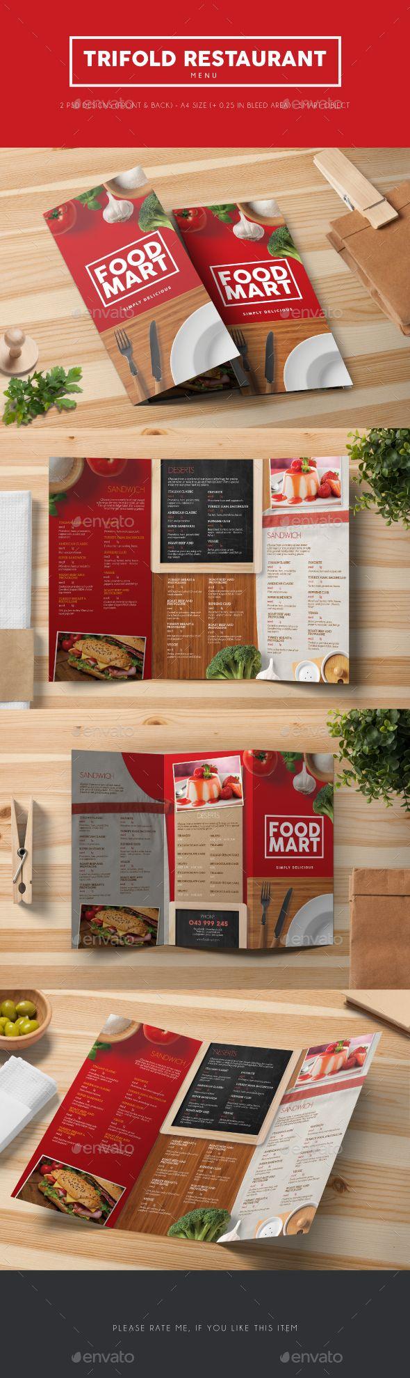 Trifold Restaurant Menu  Restaurant Menu Template Menu Templates