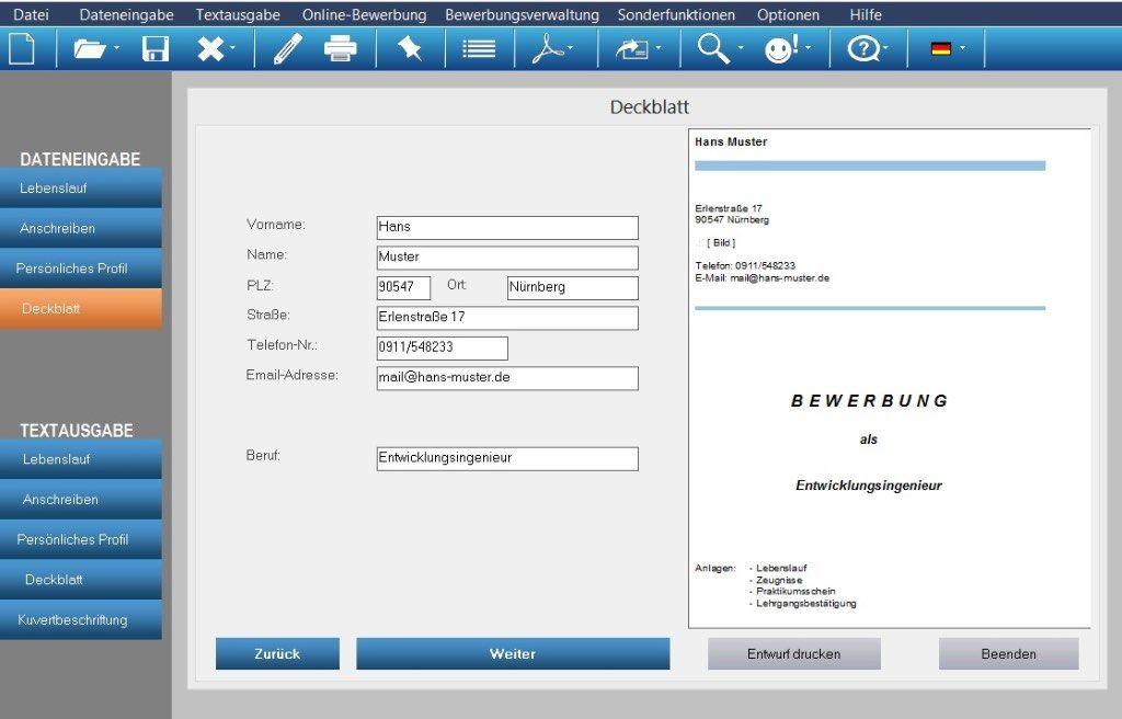 die software erstellt individuelle bewerbungsunterlagen inkl bewerbungsschreiben cv lebenslauf profil deckblatt - Bewerbung Software