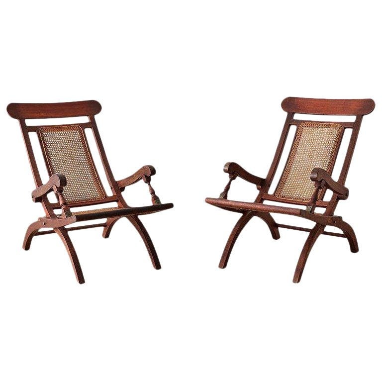 Amazing Pair Of Mahogany Campaign Style Folding Plantation Chairs In Gmtry Best Dining Table And Chair Ideas Images Gmtryco