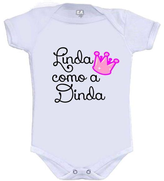 Body Divertido Personalizado Da Dinda Roupas De Bebe Personalizadas Body Roupas Fofas De Bebe