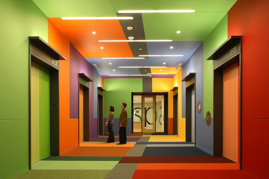 Corridor Design Color: How About A Little Color? This Is One Of The Best Elevator