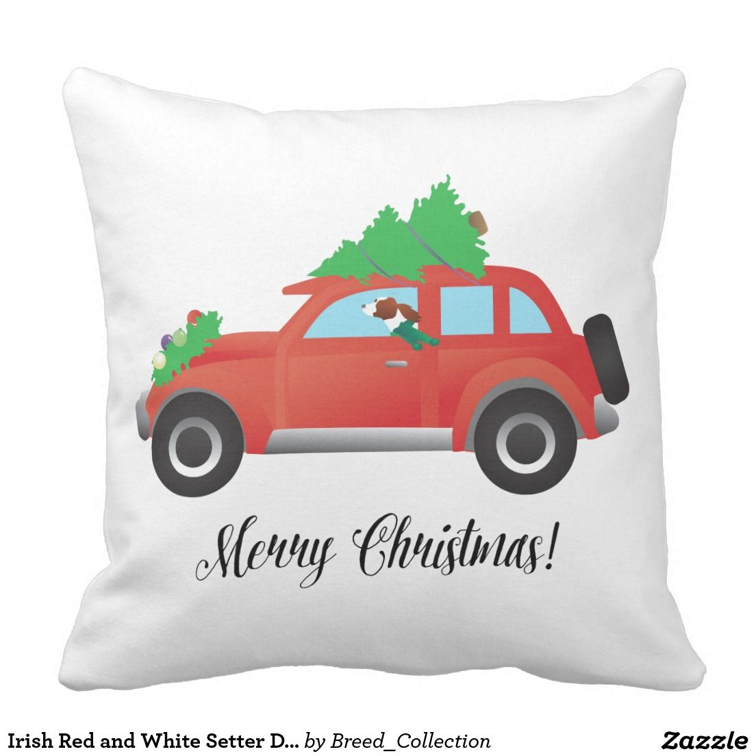 Irish Red and White Setter Driving Christmas Car Throw Pillows ...