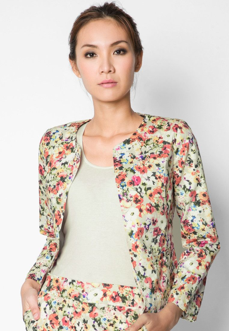 ZALORA Floral Printed Chanel Jacket 碎花無領外套  d61f78956
