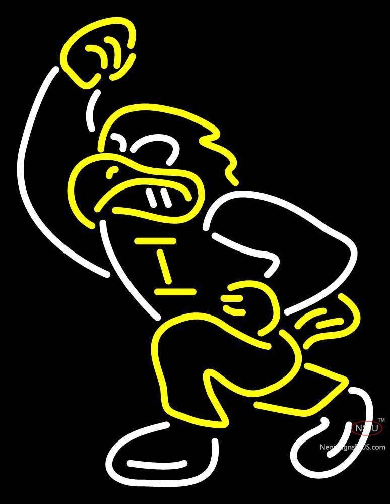 Iowa Hawkeyes Mascot Pres Logo NCAA Real Neon Glass Tube