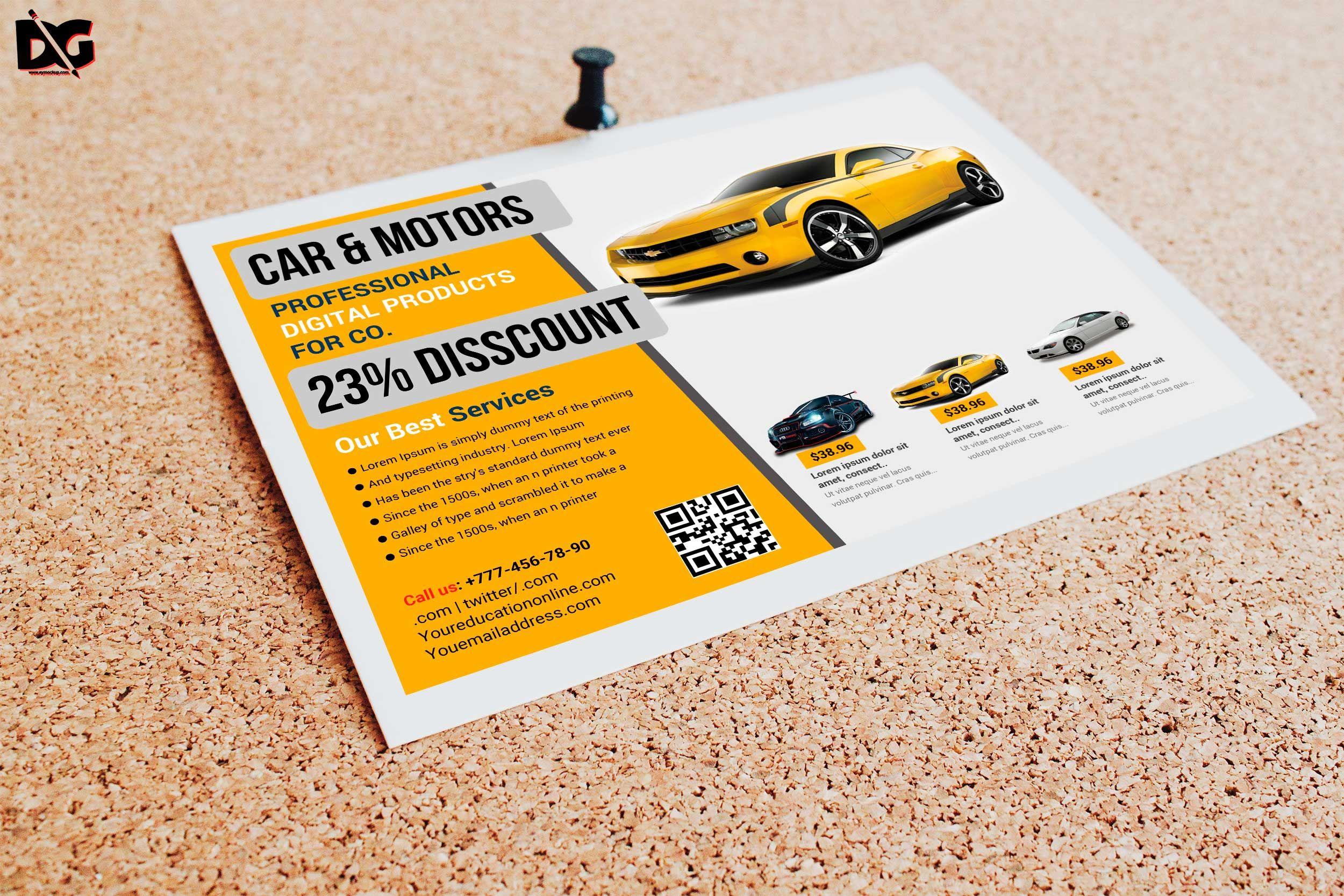 Free Half Fold Car Product Flyer Template Flyer, Mockup