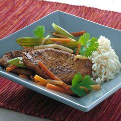 Marinerede sauté-skiver med grøntsager og ris - børnevenlig fremgangsmåde