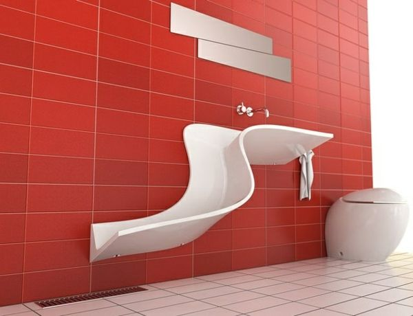 badezimmer rote fliesen waschbecken wandspiegel | we like, Hause ideen