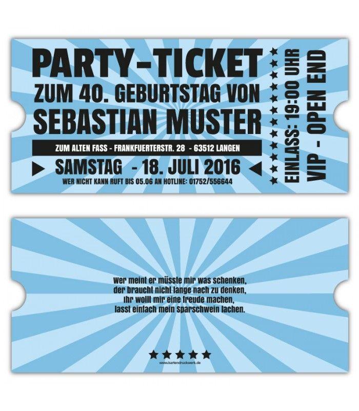 Einadungskarten VIP Retro ticket Eintrittskarten gestalten 40 30