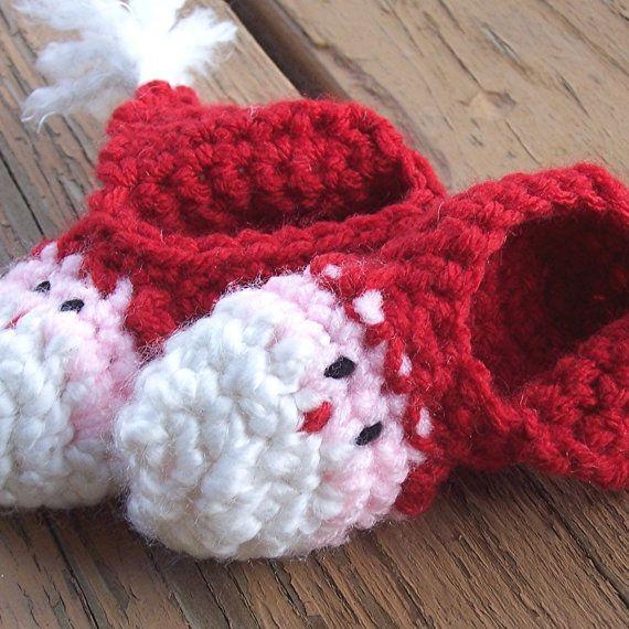 crochet santa baby shoes/booties
