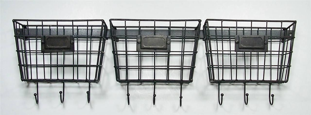 Metal Wire Basket Wall Pockets Mail Holder Organizers with Key ...