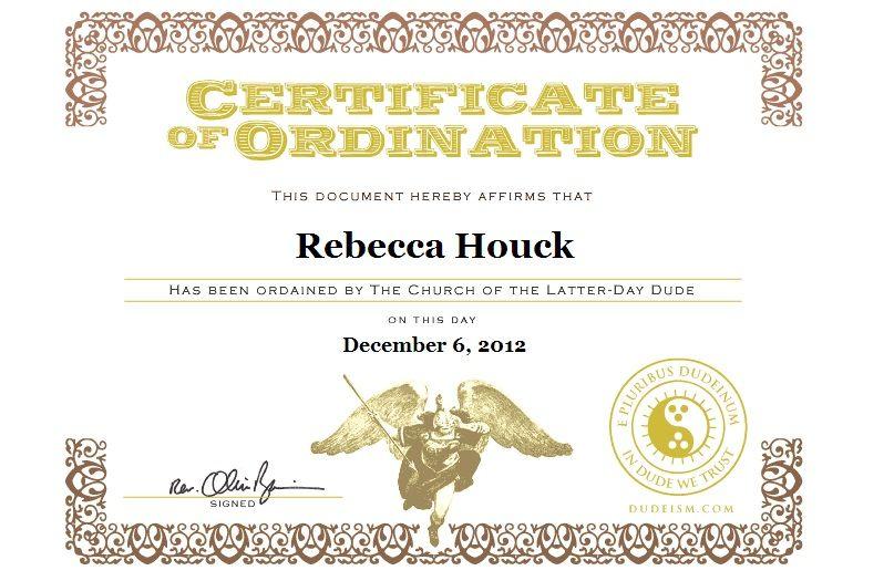 Dudeism Ordination Certificate Beliefs and symbols Pinterest - best of ordination certificate free