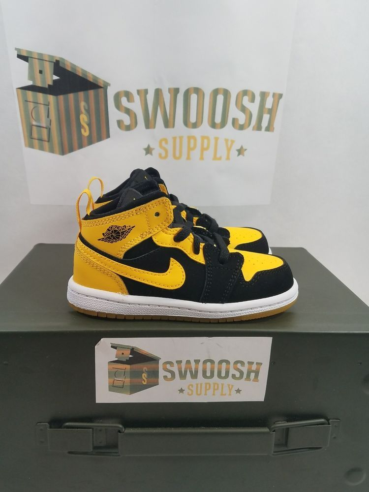 super popular 65f9d 3af3c Nike AIR JORDAN 1 NEW LOVE BLACK YELLOW TODDLER Size 7C New ...