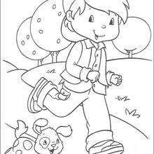 Huckleberry Pie Running With A Dog Coloring Page Girl Coloring